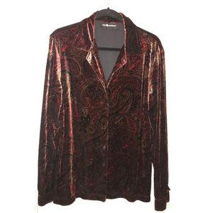 Vintage Sag Harbor Paisley Velour Shirt, Size 2X